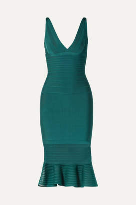 Herve Leger Tulle-trimmed Bandage Dress - Emerald
