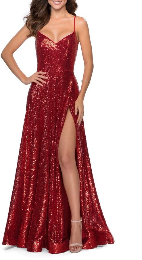 La Femme Sequin Embellished A-Line Evening Gown