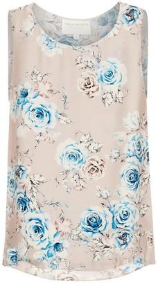 Lindsay Nicholas New York Sleeveless Shell In Pink Floral Silk Satin