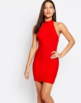 Missguided High Neck Bandage Bodycon Dress