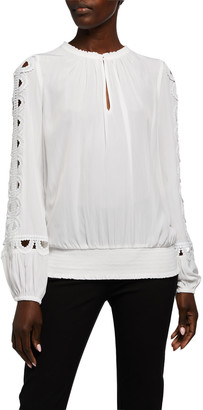 Ramy Brook Brittany Long-Sleeve Keyhole Top