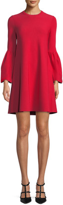 Valentino Jewel-Neck Bell-Sleeve Stretch-Knit Mini Dress
