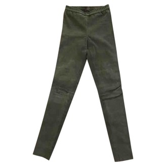 Dna Green Suede Trousers for Women