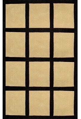 American Home Rug Co. Bright Sand/Black Window Blocks Area Rug Rug Size: 5' x 8'