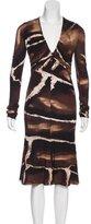 Roberto Cavalli Long Sleeve Abstract Print Dress