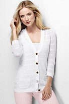 Classic Women's Tall Linen Pointelle Cardigan Sweater-White