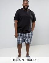 Duke Plus Pyjamas With Check Shorts In Black