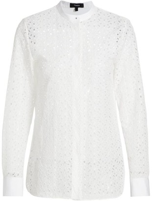 Theory Daisy Mandarin Collar Sheer Shirt