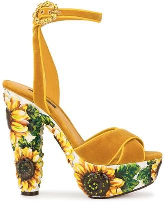 Dolce & Gabbana sunflower print platform sandals