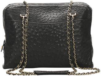 Chanel Black Ostrich Leather Vintage Shoulder Bag