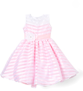 Pink Stripe Flower-Sash Dress - Infant Toddler & Girls