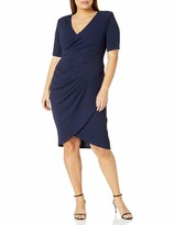 Adrianna Papell Women's Plus Size Sleeveless Sheath Dress with Draped Details