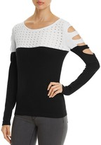 Avec Color Block Cutout Sweater