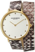 Akribos XXIV Women's Quartz Gold-Tone Case with Silver Dial and Swarovski Crystal Hour Markers on Beige Snakeskin Embossed Genuine Leather Double Strap Watch AK923YGGY