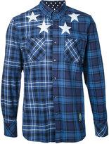 GUILD PRIME stars print checked shirt