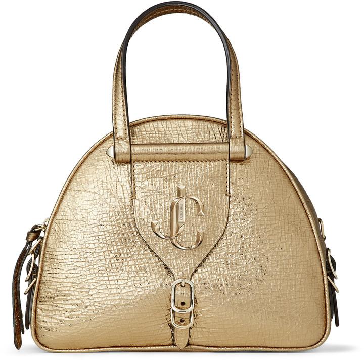 Jimmy Choo VARENNE BOWLING/S Gold Metallic Vintage Goat Leather Bowling Handbag with JC Emblem