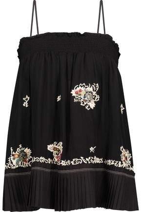 Derek Lam 10 Crosby Embellished Pleated Silk Top