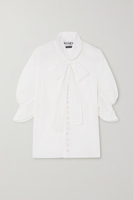 ÀCHEVAL PAMPA Chiquita Ruffled Pussy-bow Cotton-voile Blouse - White