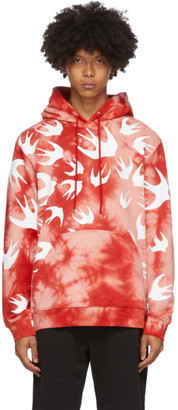 McQ Pink and Red Tie-Dye Swallows Hoodie