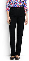 Lands' End Women's Petite High Rise Straight Leg Jeans-Black