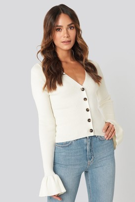 Hanna Weig X NA-KD Button Down Bell Sleeve Sweater