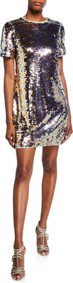Aidan Mattox Sequin Short-Sleeve Mini Shift Dress