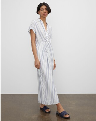 Club Monaco Striped Twist Front Maxi Dress