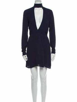 Reformation Mock Neck Mini Dress Blue
