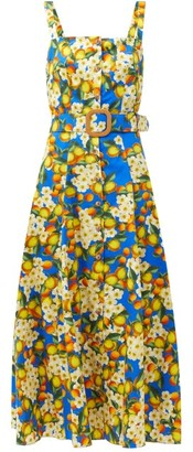 Borgo de Nor Camilla Lemonade-print Cotton Midi Dress - Blue Multi