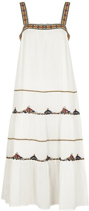 Velvet by Graham & Spencer Winifred White Embroidered Cotton Midi Dress