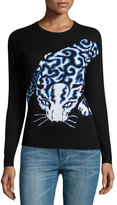 philosophy Panther-Graphic Pullover Sweater, Black/White/Blue