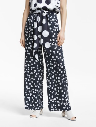 Mother of Pearl Tencel Small Spot Print Trousers, Navy