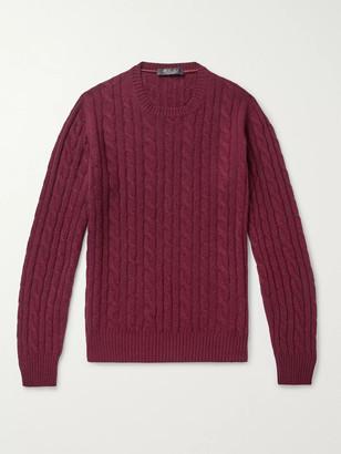 Loro Piana Girocollo Slim-Fit Cable-Knit Baby Cashmere Sweater