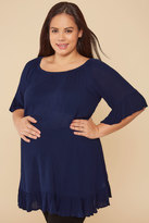 Yours Clothing BUMP IT UP MATERNITY Navy Gypsy Crinkle Longline Top With Elasticated Neckline
