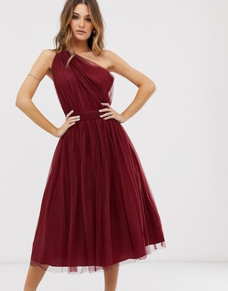 Asos Design DESIGN one shoulder tulle midi dress-Red