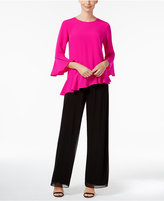 MSK Asymmetrical Ruffled Bell-Sleeve Blouse