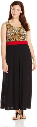 Star Vixen Women's Plus-Size Sleeveless Print Color Block Maxi Dress