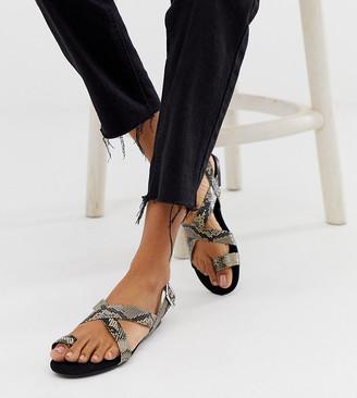 Monki strappy flat sandal in snake print exclusive-Grey