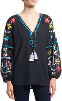 Figue Victoria Floral-Embroidered Top, Navy