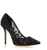 Dolce & Gabbana Black Lace Pointed Toe Pumps