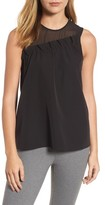 Halogen Women's Mixed Media Ruffle Tank