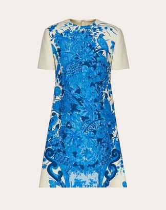 Valentino Short Printed Crepe Couture Dress Women Ivory/blue Virgin Wool 65%, Silk 35% 48