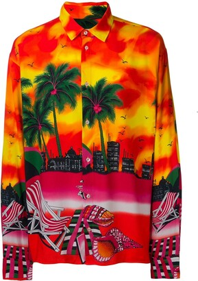 MSGM Psychedelic Sunset Print Shirt