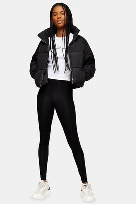 Topshop Womens Black Elasticated Leggings - Black