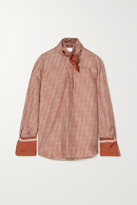 Chloé Tie-neck Printed Silk-twill Blouse - Brown