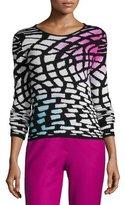 Armani Collezioni Intarsia Wool-Cashmere Sweater, Multicolor