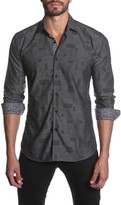 Jared Lang Contrast Trim Long Sleeve Semi-Fitted Shirt