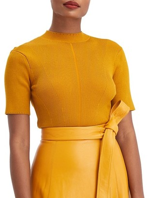 Oscar de la Renta Short-Sleeve Mockneck Knit Top