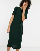 Weekday Beyond longline t-shirt dress in bottle green