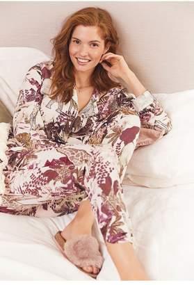 Next Womens Ecru Jungle Print Button Through Pyjamas - White
